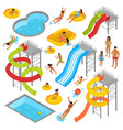aqua park isometric icons set vector image