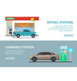 car charging electricity and petrol gas station vector image