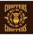 Gold vintage bikers badge on the wooden texture vector image