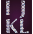 Alphabet of diamonds IJKL vector image