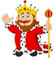 Cartoon king holding a golden scepter vector image