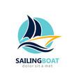 sailing boat abstract logo vector image