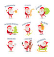 santa claus routine collection of vector image