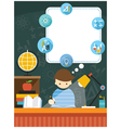 Student Read Book Education Frame and Icons vector image