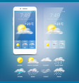weather forecast app blue background vector image