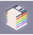 Pile of the colored floppy disks diskettes vector image