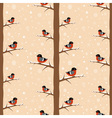 Cute winter bullfinch bird seamless pattern vector image vector image