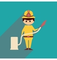 Flat web icon with long shadow Man firefighter vector image