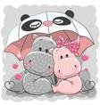 cute cartoon hippos with umbrella vector image