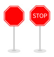 Stop traffic warning road sign set with stand vector image