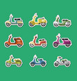 vintage scooters isolated labels set vector image
