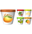 Five cups of yoghurt with fruits vector image