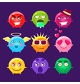 Collection Of Round Character Emoji Icons vector image