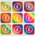 Pound sterling icon sign Nine buttons with bright vector image