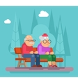 Elderly couple sitting on a bench in park vector image
