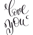 love you black and white hand written lettering vector image