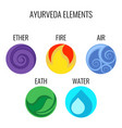 ayurveda elements and doshas icons isolated vector image