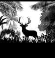 forest background with wild deer of trees vector image