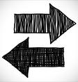 2 hand drawn arrows vector image