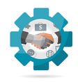 Shake Hand Gear Business vector image