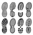 isolated footprint silhouettes dirty shoes vector image