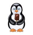 Penguin with ice cream vector image