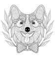 Zentangle Welsh Corgi with bow tie in wreath frame vector image