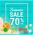 beach item and sand on wooden for 70 percent off vector image
