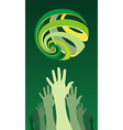 raised hands globe icon vector image