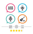 musical elements icon microphone live music vector image