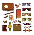 trendy hipster accesories set vector image