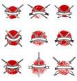 set of labels with samurai swords design elements vector image