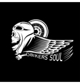 bikers theme label with skullwheel and wing vector image