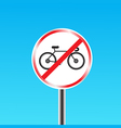 Bicycles prohibited sign vector image