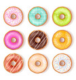 bright tasty donuts top view set vector image