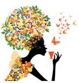 girl in flowers vector image