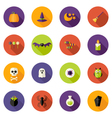 Halloween Colorful Flat Circle Icons Set vector image