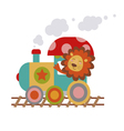 Lion driver of the engine cartoon vector image