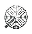 monochrome blurred silhouette of arrow on target vector image