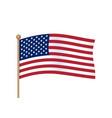 waving american flag on pole usa flag vector image