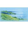 Watercolor river natural landscape vector image