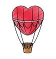 Hot air balloon and heart design vector image