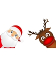 Snowman and Santa Claus look out the side on a vector image