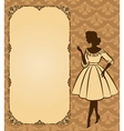 Lady in a retro dress background vector image
