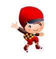 Boy wearing baseball outfit vector image vector image