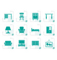 stylized home equipment and furniture icons vector image vector image