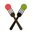 crossed forks with food icon image vector image vector image