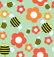 Seamless Pattern in Cartoon Style with Cute Bee vector image