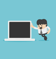businessman leaning against laptop vector image