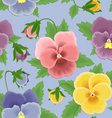 seamless pansies pattern vector image vector image
